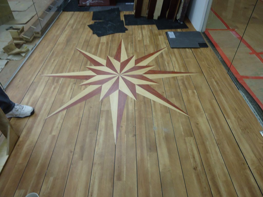 Installation of timberwood with pattern on it